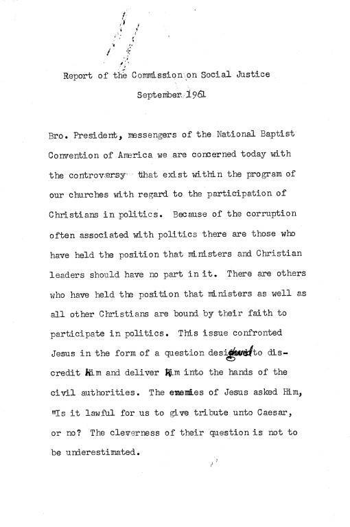 National Baptist Convention of America,  1961 Social Justice Committee Report