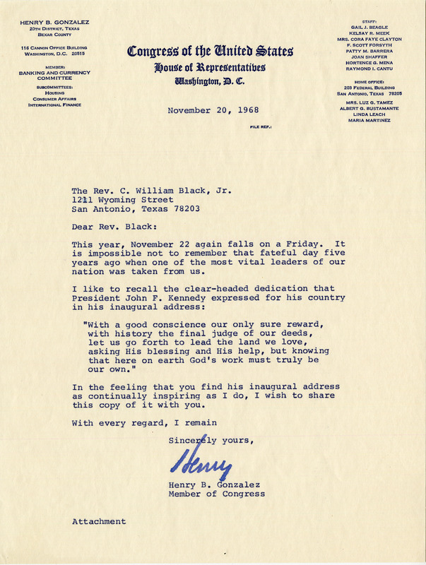 Letter from Congressman Henry B. Gonzalez