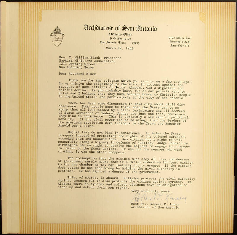 Letter from Archbishop Robert E. Lucey to Reverend Claude William Black of San Antonio's Mt. Zion Baptist Church
