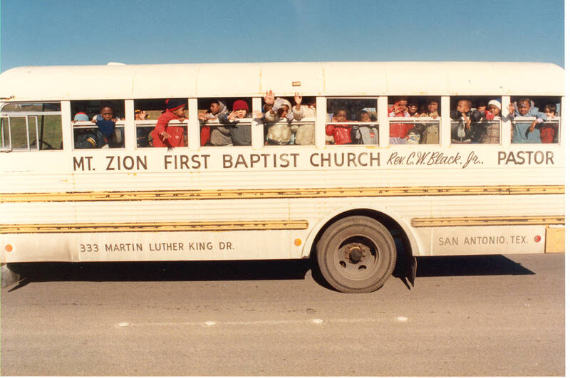 A Bus of Children Participating in the Martin Luther King Jr. March 1987