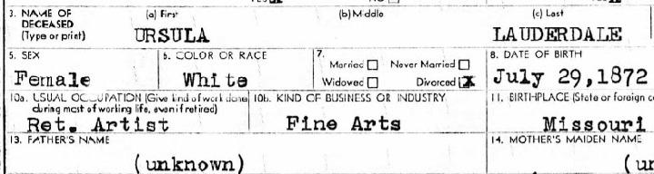 Ursula's occupation on death certificate