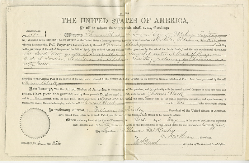 Thomas Black Oklahoma Land Certificate