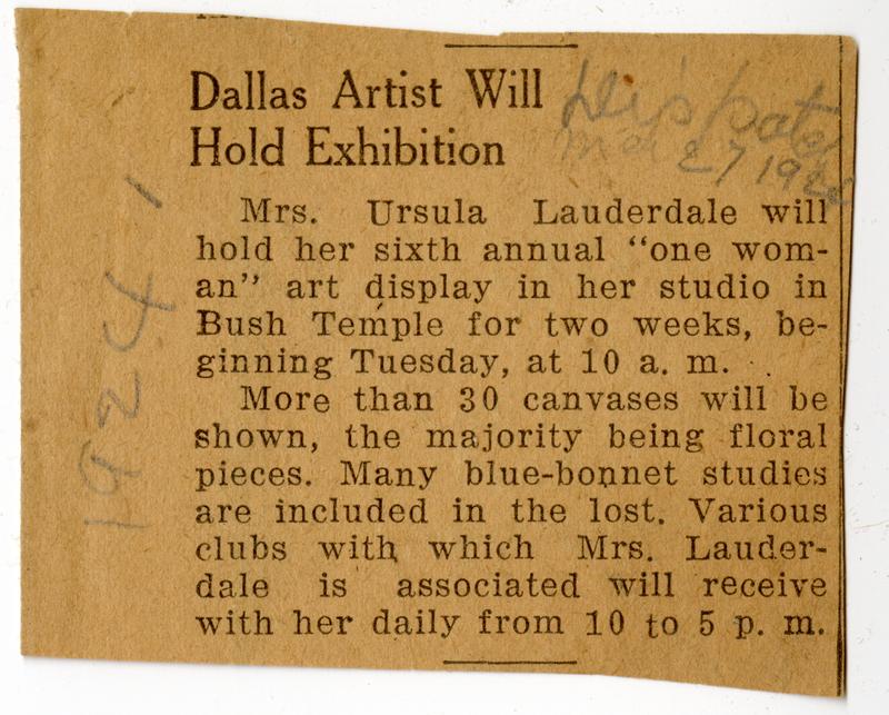 Dallas Exhibition Newspaper Clipping