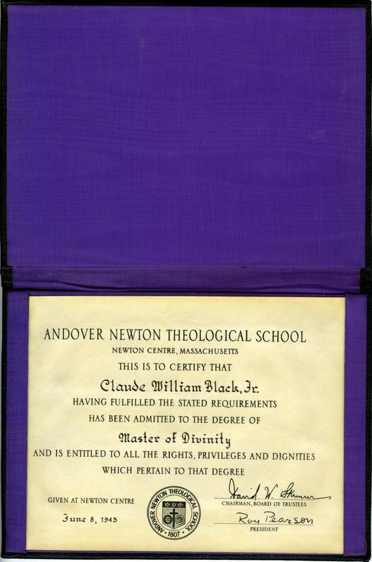 Rev. Black's Master of Divinity Diploma