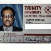 Claude Black's Trinity University Student ID Card