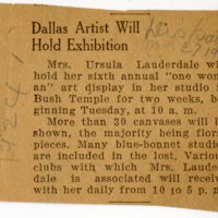 Dallas Exhibition Newspaper Clipping