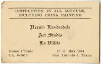 Ursula Lauderdale's Studio Business Card